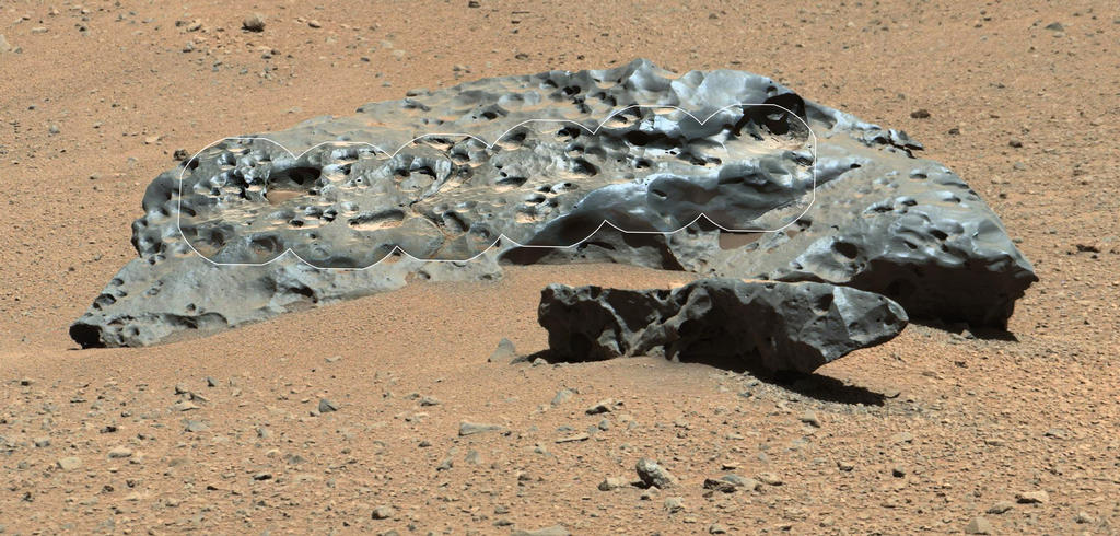 Photograph from Curiousity on Mars of the largest Iron Meteorite found on Mars. Image by NASA.