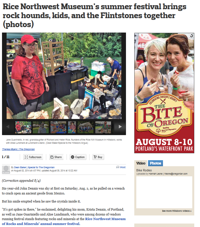 ice Northwest Museum Summer Festival Featured in Oregonian - screenshot of article.