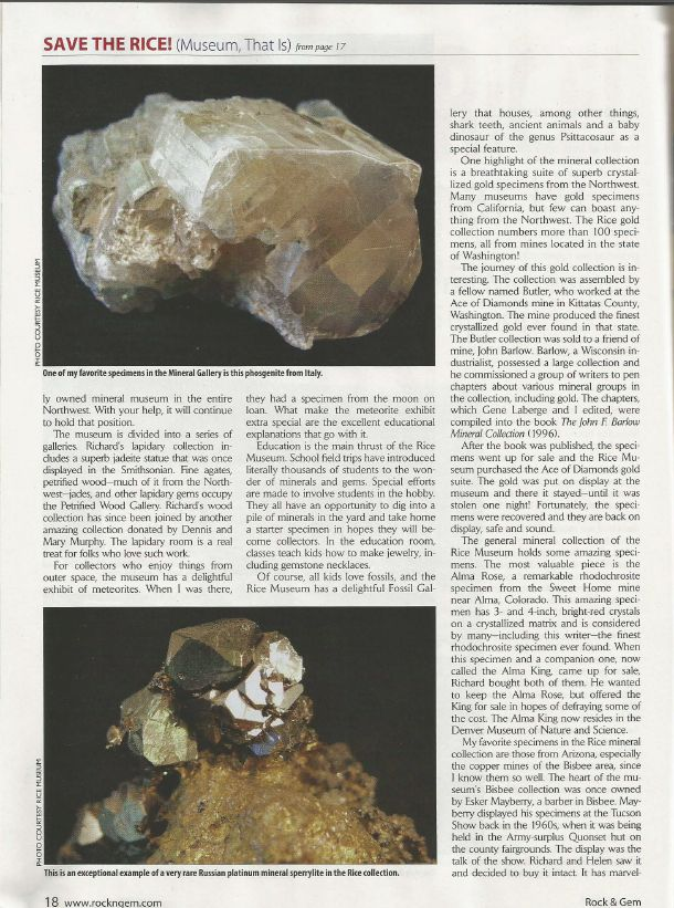 Page 18 from the January 2015 Rock and Gem Magazine article on the Rice NW Museum.