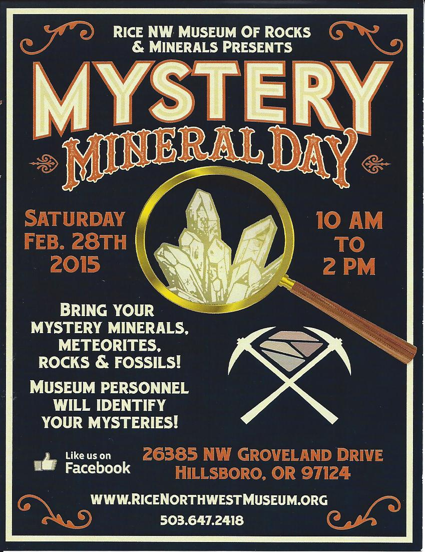 Mystery Mineral Day 2015 Flier