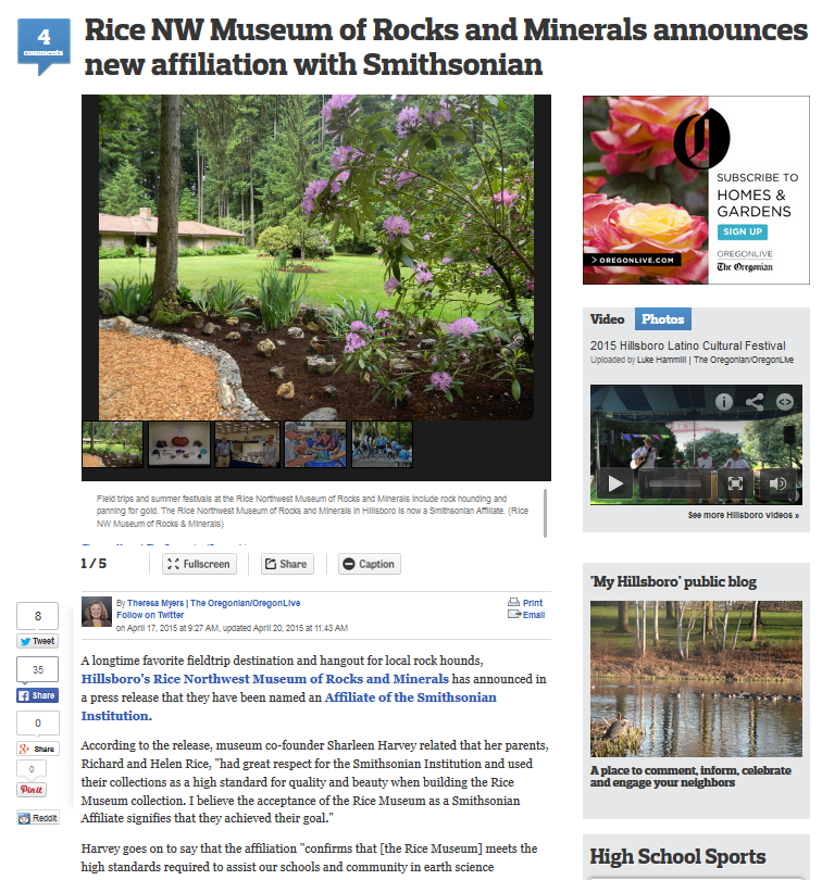Screenshot of Oregonian article on Rice NW Museum and Smithsonian affiliation.