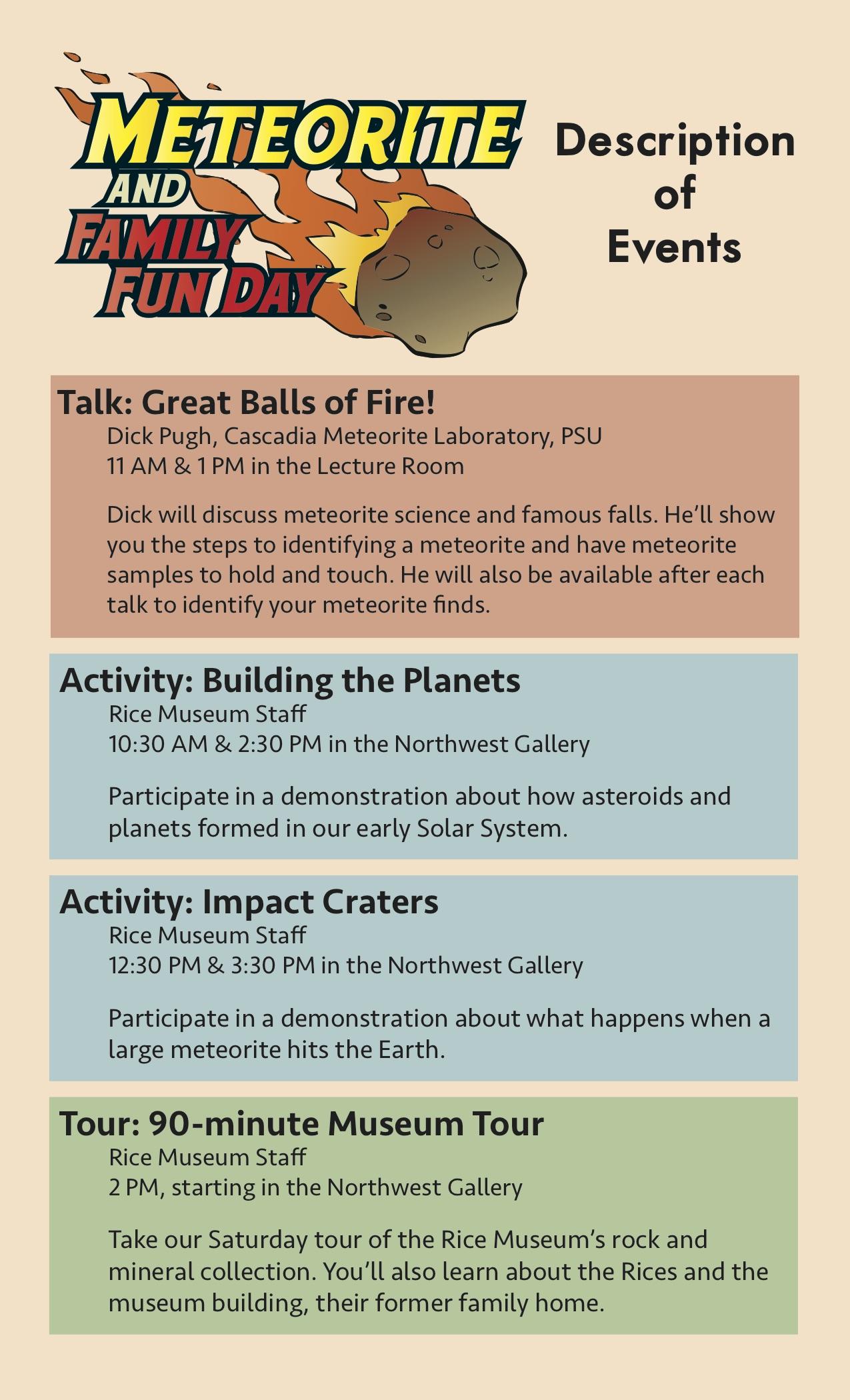 Meteorite Day Schedule Descriptions