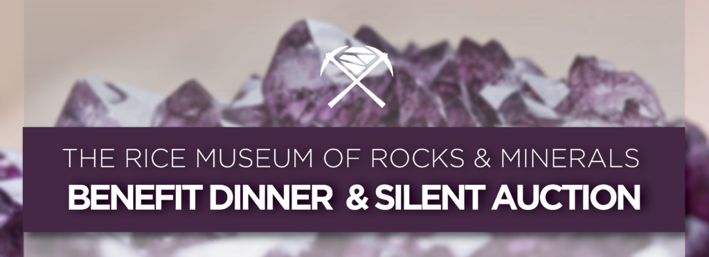 "Event banner reading ""The Rice Museum of Rocks & Minerals Benefit Dinner & Silent Auction"" in white, background includes image of rough amethyst crystals"