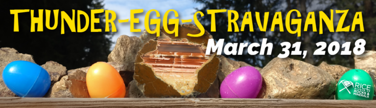 Thunder-Egg-Stravaganza, March 31, 2018. Image depicts a polished thunderegg surrounded by four plastic Easter eggs.