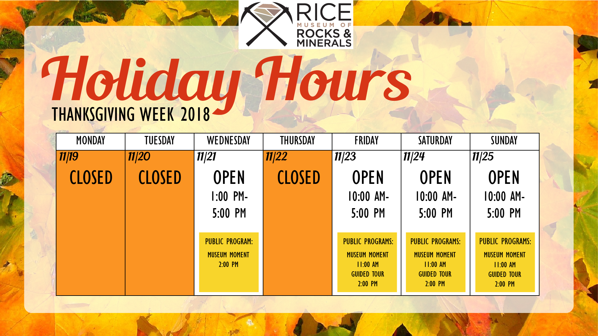 2018 Thanksgiving Holiday Hours