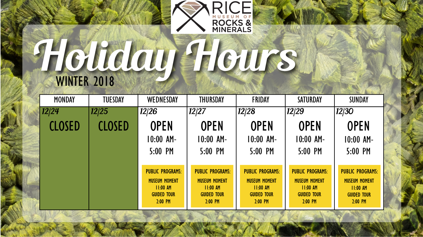 Hours for Winter Break: Monday, 12/24/2018: Closed (Christmas Eve). Tuesday, 12/25/2018: Closed (Christmas Day). Wednesday, 12/26/2018: Open: Holiday Hours, 10:00 AM- 5:00 PM.  Museum Moment 11:00 AM •  Hosted Tour 2:00 PM- 3:30 PM Thursday, 12/27/2018: Open: Holiday Hours, 10:00 AM- 5:00 PM •  Museum Moment 11:00 AM •  Hosted Tour 2:00 PM- 3:30 PM Friday, 12/28/2018: Open: Holiday Hours, 10:00 AM- 5:00 PM •  Museum Moment 11:00 AM •  Hosted Tour 2:00 PM- 3:30 PM Saturday, 12/29/2018: Open: 10:00 AM- 5:00 PM •  Museum Moment 11:00 AM •  Hosted Tour 2:00 PM- 3:30 PM Sunday, 12/30/2018: Open: 10:00 AM- 5:00 PM Museum Moment 11:00 AM Hosted Tour 2:00 PM- 3:30 PM