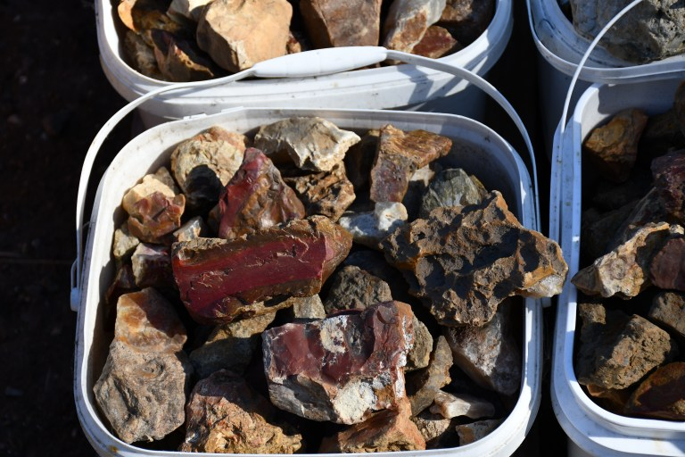 Quartz, jasper and agate from the lower Nehalem River in buckets.